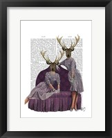 Deer Twins in Purple Framed Print