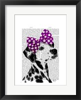 Dalmatian with Purple Bow on Head Framed Print