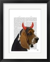Basset Hound and Devil Horns Framed Print