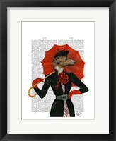 Elegant Greyhound and Red Umbrella Framed Print