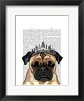 Pug With Tiara Framed Print