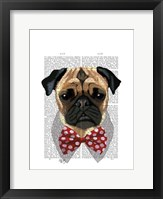 Pug with Red Spotted Bow Tie Framed Print
