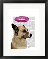 German Shepherd With Pink Halo Framed Print