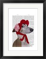 Greyhound with Red Woolly Hat Framed Print