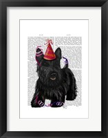Framed Scottish Terrier and Party Hat