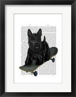 Scottish Terrier and Skateboard Framed Print