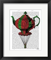 Flying Teapot 2 Red and Green Framed Print