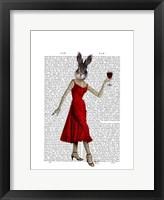 Rabbit in Red Dress Framed Print