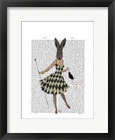 Rabbit in Black White Dress Framed Print