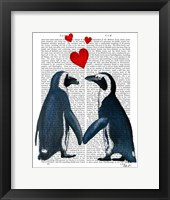 Penguins With Love Hearts Framed Print