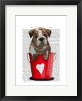 Bulldog Bucket Of Love Red Framed Print