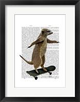 Meerkat On Skateboard Framed Print