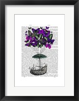 Butterfly Airship 2 Purple and Green Framed Print