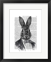 Rabbit In Suit Portrait Framed Print
