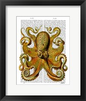 Vintage Yellow Octopus Front Framed Print