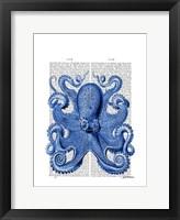 Vintage Blue Octopus 1  Front Framed Print