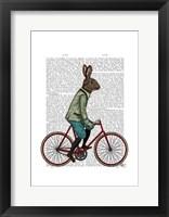 Rabbit On Bike Framed Print
