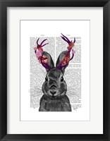 Jackalope with Pink Antlers Framed Print