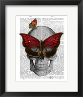Framed Pink Butterfly Mask Skull