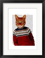 Cat in Ski Sweater Framed Print