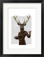 Fencing Deer Portrait Framed Print