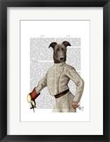Greyhound Fencer in Cream Portrait Framed Print