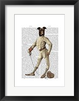 Greyhound Fencer in Cream Full Framed Print