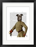 Greyhound Fencer Dark Portrait Framed Print