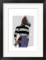Horse Racing Jockey Portrait Framed Print
