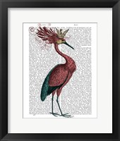 Crowed Marsala Heron Framed Print