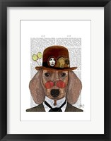 Dachshund with Steampunk Bowler Hat Framed Print