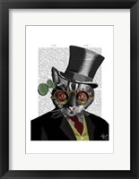 Steampunk Cat - Top Hat and red yellow glasses Framed Print