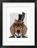 Framed Dachshund with Top Hat and Goggles
