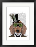 Framed Dachshund Green Goggles Top Hat