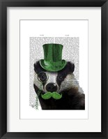 Badger with Green Top Hat and Moustache Framed Print