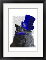 Framed Grey Cat With Blue Top Hat and Blue Moustache