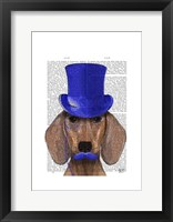 Dachshund With Blue Top Hat and Blue Moustache Framed Print