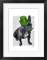 Framed French Bulldog With Green Top Hat and Moustache