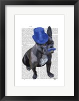 Framed French Bulldog With Blue Top Hat and Moustache