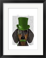 Dachshund with Green Top Hat Black Tan Framed Print