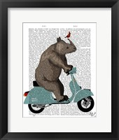 Rhino on Moped Framed Print