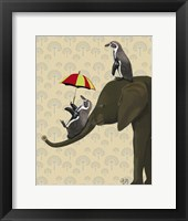 Elephant and Penguins Framed Print