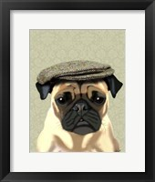 Pug in Flat Cap Framed Print