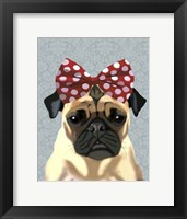 Pug with Red Spotty Bow On Head Framed Print