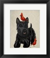 Framed Scottie Dog and Red Birds