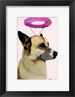 Dog with Pink Halo Framed Print