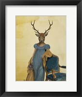 Deer In Blue Dress Framed Print