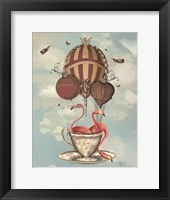 Flamingos in Teacup Framed Print