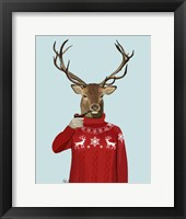 Deer in Ski Sweater Framed Print