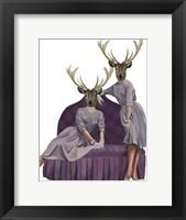 Deer Twins in Purple Dresses Framed Print